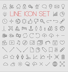 Big modern thin line icon set vector image