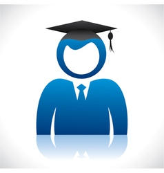 Blue graduate student with pass-out cap vector