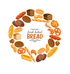Bread products round frame poster vector