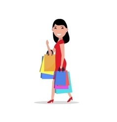 Cartoon happy woman shopping bags vector