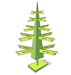 Christmas and travel tree vector image vector image