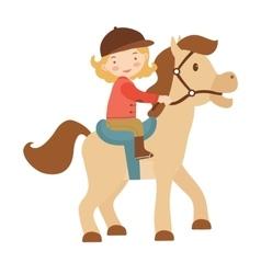 Cute little girl riding a horse vector
