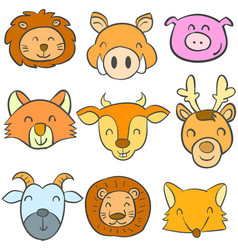 Doodle of animal colorful cute collection vector