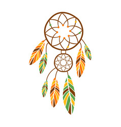 Double dream catcher with feathers native indian vector