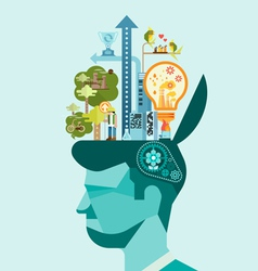 Ecology Think green human mind vector image vector image