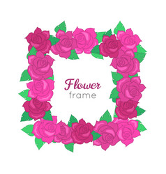 Flower frame squar wreath of different blossoms vector