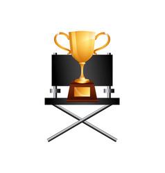 Golden trophy icon vector