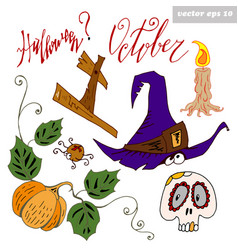 haloween set colored vector image vector image