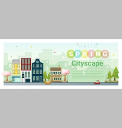 Hello spring cityscape background 3 vector image vector image