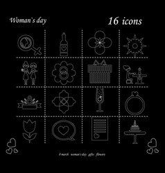 i love you womens doodle 16 icon in set of womens vector image vector image