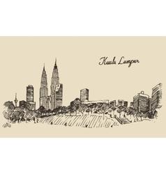 Kuala Lumpur skyline engraved hand drawn sketch vector image