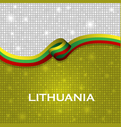 Lithuania flag ribbon shiny particle style vector