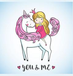 little girl on a cute unicorn vector image