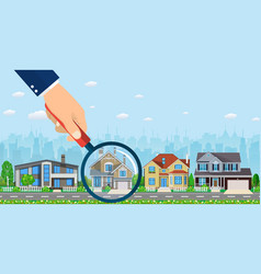 magnifying glass with house vector image