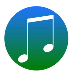 Music sign white icon in vector