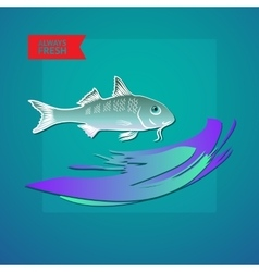 seafood themed with fish wave and vector image