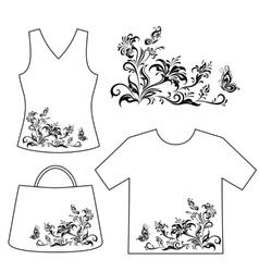 Set outline floral patterns vector