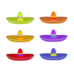 sombrero set colorful mexican hat ornament vector image