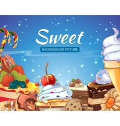 Sweets abstract background with candy vector image vector image