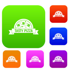 tasty pizza sign set color collection vector image