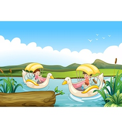 Two swan boats at the river vector image vector image