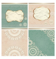 Vintage borders with lace pattern vector image vector image