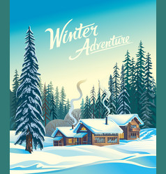 Winter forest day vector
