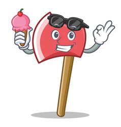 With ice cream axe character cartoon style vector