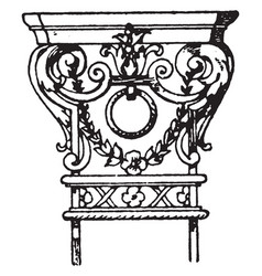 Wrought-iron pilaster capital scroll vintage vector
