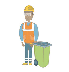 Young african-american builder pushing recycle bin vector