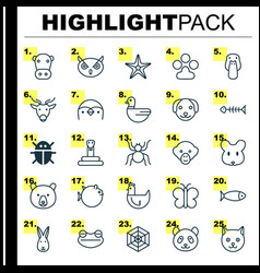 Zoology icons set collection of night fowl diver vector