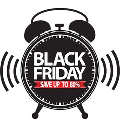 Black friday save up to 80 alarm clock black icon vector