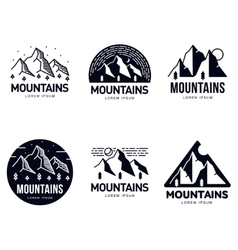 Set of mountains and outdoor adventures logo vector