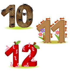 Set of numbers with number of animals 10 to 12 vector
