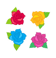 red blue pink purple rose with green leaves vector image