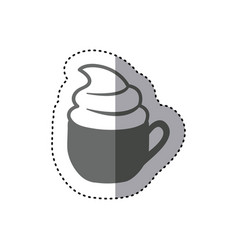 Sticker monochrome silhouette cup of cappuccino vector