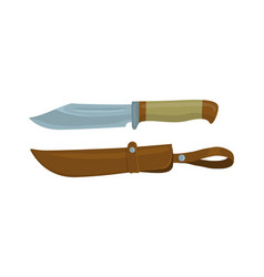 military knife with leather sheath vector image