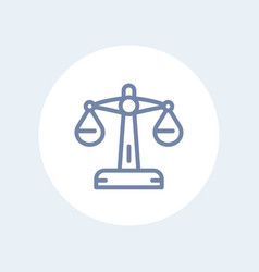 Scales line icon isolated on white justiceconcept vector