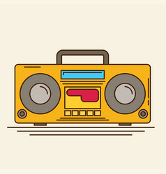Magnetic cassette player flat vector