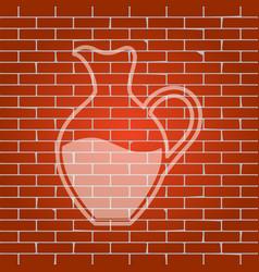 Amphora sign  whitish icon on brick wall vector