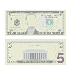5 dollars banknote cartoon us currency vector image