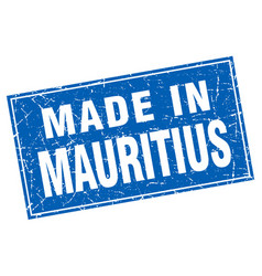 Mauritius blue square grunge made in stamp vector