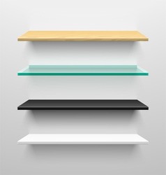 Wooden glass black and white shelves vector