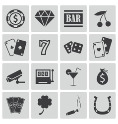 Black casino icons set vector