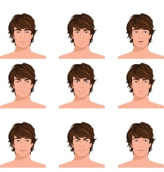 Man head emotions portraits set vector