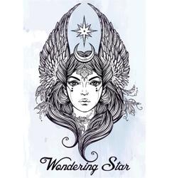 Beatuful woman as a star diety or tarot card vector