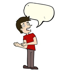cartoon man making excuses with speech bubble vector image