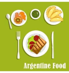 Traditional argentine cuisine and pastry vector