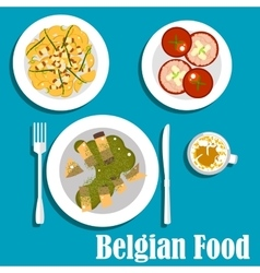 Belgian cuisine with eel fish and hot salad vector