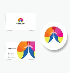 Business card with of airplane vector